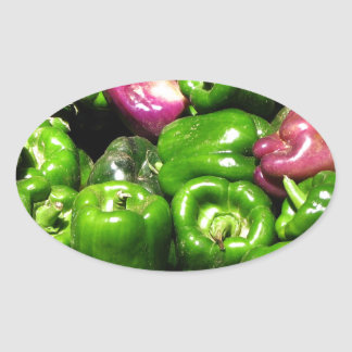 Peppers  Green Purple Oval Stickers