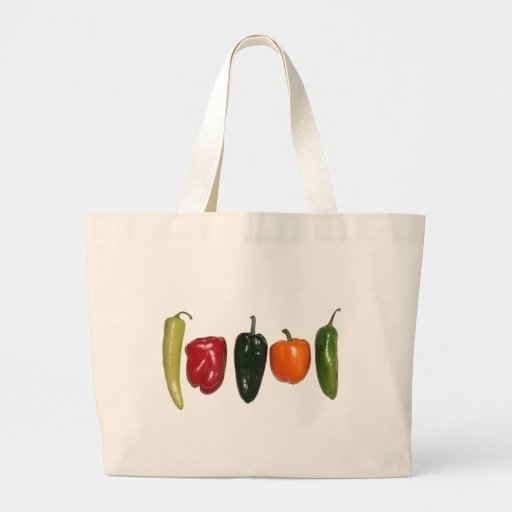 Peppers in a Row Large Tote Bag