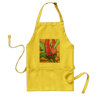Peppers On Orange Background Adult Apron