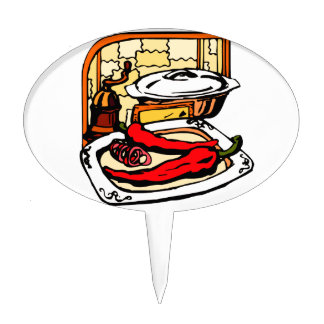 Peppers pan grinder kitchen scene graphic cake topper