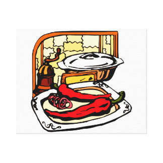 Peppers pan grinder kitchen scene graphic canvas print