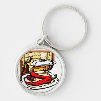 Peppers pan grinder kitchen scene graphic keychain