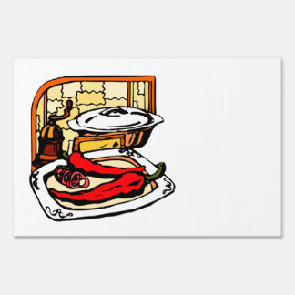 Peppers pan grinder kitchen scene graphic sign
