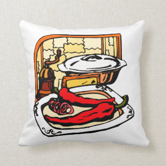 Peppers pan grinder kitchen scene graphic throw pillow