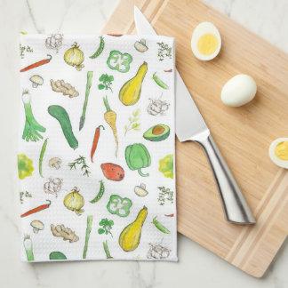 Peppers Peas Squash Potato Watercolor Vegetables Kitchen Towel