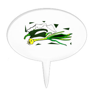peppers scallions green graphic cake topper