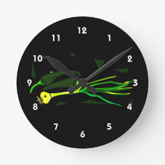 peppers scallions green graphic round clock
