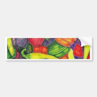 Peppers watercolor pencil art bumper sticker