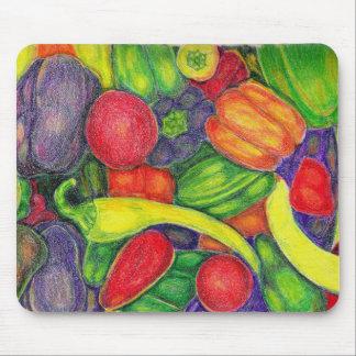 Peppers watercolor pencil art mousepad