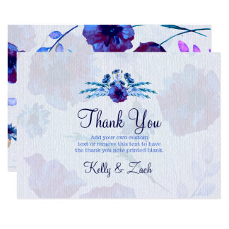 Peppy Blue Poppies Thank You Cards