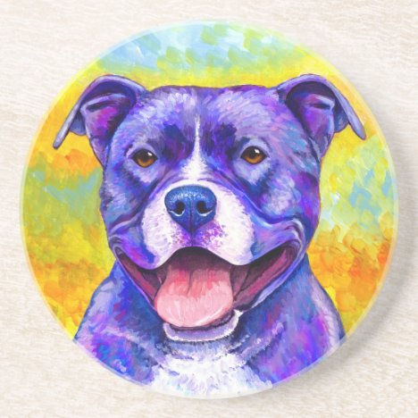 Peppy Pitbull Dog Round Stone Coaster