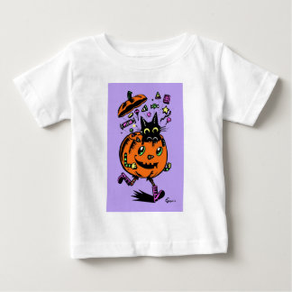 Peppy Pumpkin and Kitty Halloween Baby T-Shirt