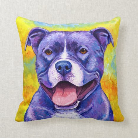 Peppy Purple Pitbull Dog Throw Pillow