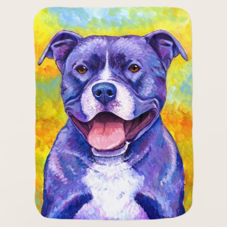 Peppy Purple Pitbull Terrier Dog Baby Blanket