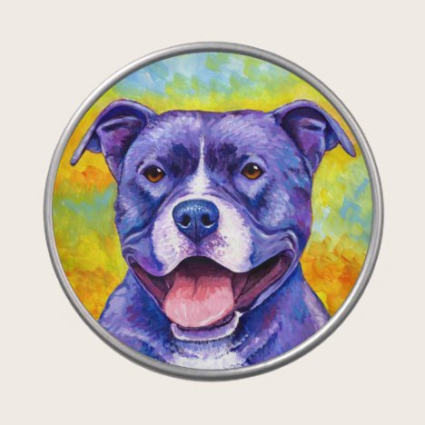 Peppy Purple Pitbull Terrier Dog Candy Tin