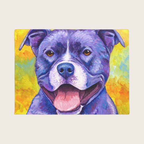 Peppy Purple Pitbull Terrier Dog Door Mat