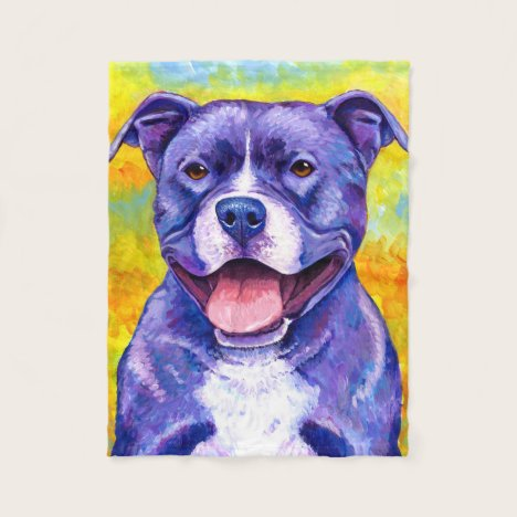 Peppy Purple Pitbull Terrier Dog Fleece Blanket