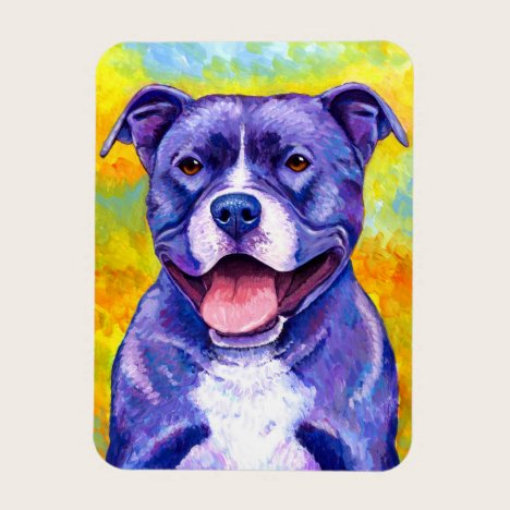 Peppy Purple Pitbull Terrier Dog Flexible Magnet