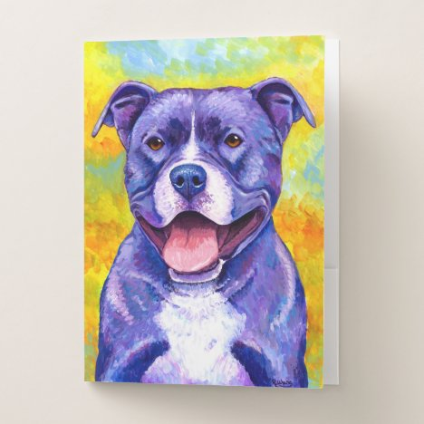 Peppy Purple Pitbull Terrier Dog  Folders