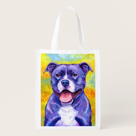 Peppy Purple Pitbull Terrier Dog Grocery Bag
