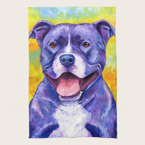 Peppy Purple Pitbull Terrier Dog Kitchen Towels