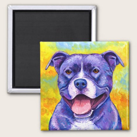 Peppy Purple Pitbull Terrier Dog Magnet