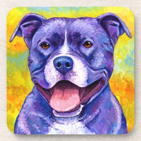 Peppy Purple Pitbull Terrier Dog Plastic Coasters