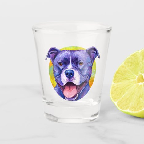 Peppy Purple Pitbull Terrier Dog Shot Glass