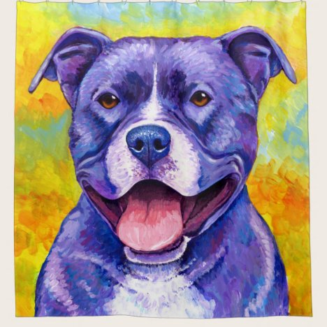 Peppy Purple Pitbull Terrier Dog Shower Curtain