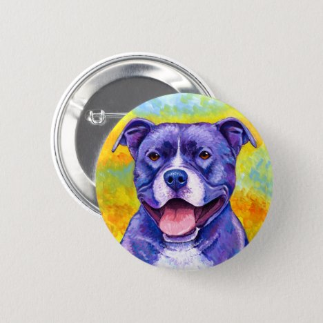 Peppy Purple Pitbull Terrier Dog Smile Button