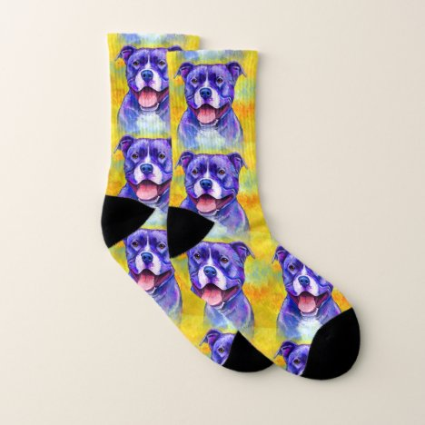 Peppy Purple Pitbull Terrier Dog Socks