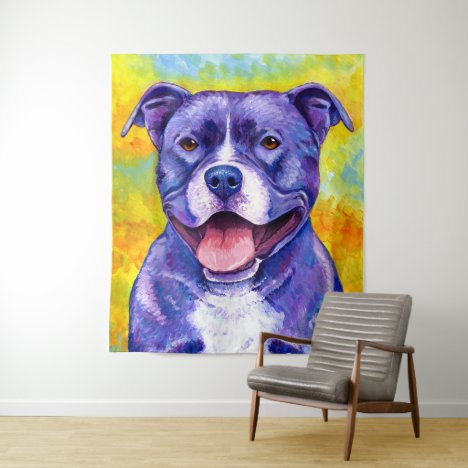 Peppy Purple Pitbull Terrier Dog Tapestry
