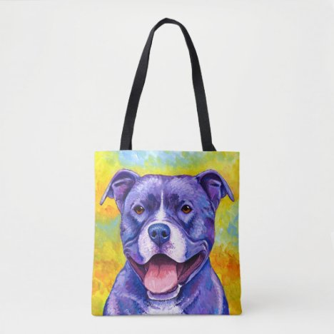 Peppy Purple Pitbull Terrier Happy Dog Tote Bag