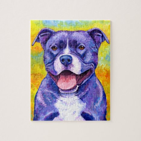 Peppy Purple Purple Pitbull Terrier Dog Puzzle