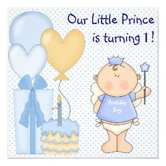 """Pequeña 1ra fiesta de cumpleaños de príncipe Boys Invitación 5.25"""" X 5.25"""""""