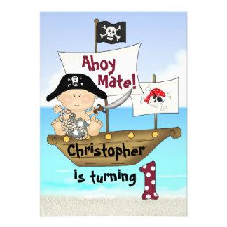 Pequeña 1ra invitación del pirata del cumpleaños d