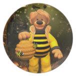 Pequeña abeja de los osos pequeños plato de comida