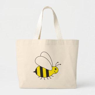 Pequeña abeja divertida de la miel linda bolsa tela grande