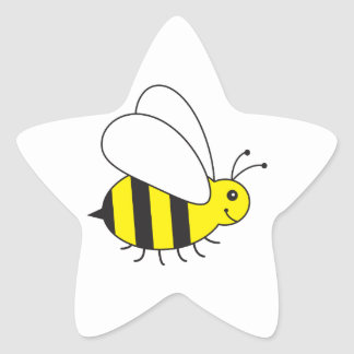 Pequeña abeja divertida de la miel linda pegatina en forma de estrella