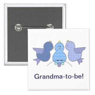 Pequeña abuela azul linda a ser, fiesta de bienven pins