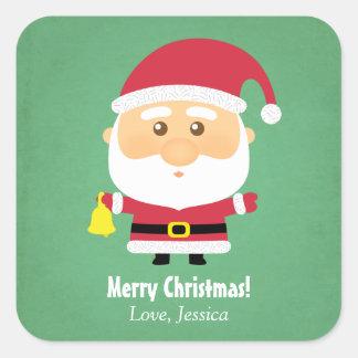 Pequeña alegría linda del navidad de Papá Noel Pegatina Cuadrada