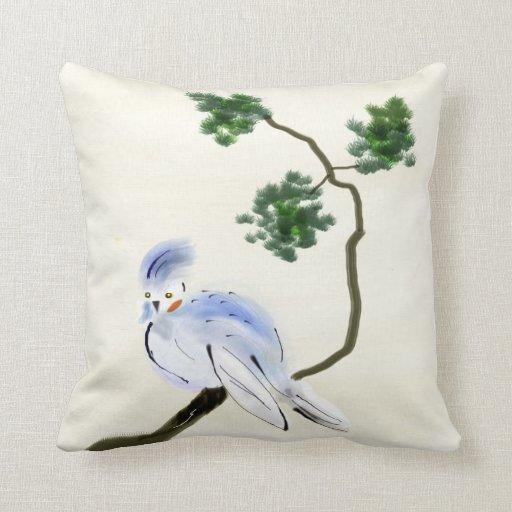 Pequeña almohada de Sumi-e del pájaro