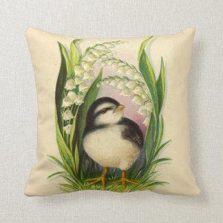 Pequeña almohada del vintage del pájaro