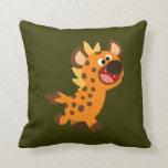 Pequeña almohada linda del Hyena del dibujo animad