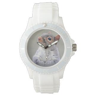 Pequeña ardilla gris suave y mullida linda relojes de mano