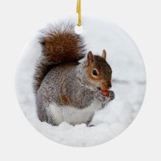Pequeña ardilla marrón linda en nieve ornamento para arbol de navidad