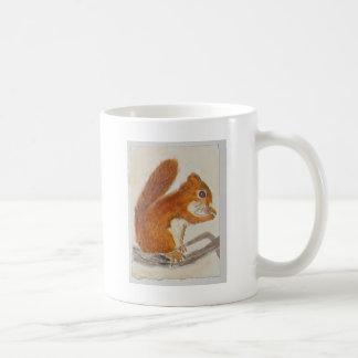 Pequeña ardilla roja vía aceo del animal de la acu taza de café