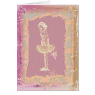 Pequeña bailarina con el rosa tarjetas