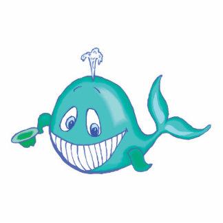 pequeña ballena sonriente linda escultura fotográfica