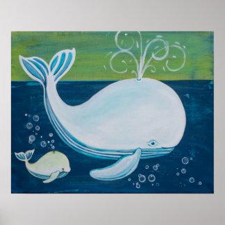 Pequeña ballena y ballena grande póster